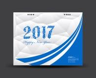 Il blu ed il bianco coprono il calendario da scrivania 2017, buon anno 2017 Immagini Stock