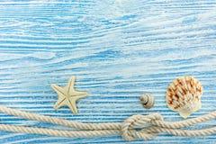 Il blu ha dipinto il fondo dei bordi di legno con la conchiglia, stella marina Fotografia Stock