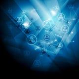 Il blu luminoso collega il fondo di comunicazione Immagine Stock Libera da Diritti
