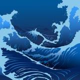 Il blu ondeggia nello stile giapponese Fotografie Stock Libere da Diritti