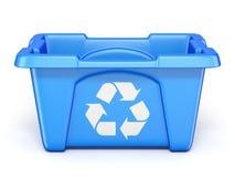 Il blu ricicla il recipiente 3D illustrazione di stock