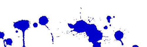 Il blu spruzza e macchia su fondo bianco Pittura dell'inchiostro Illustrazione disegnata a mano Illustrazione astratta Immagine Stock