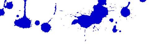 Il blu spruzza e macchia su fondo bianco Pittura dell'inchiostro Illustrazione disegnata a mano Illustrazione astratta dell'acque Fotografia Stock