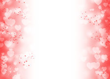 Il bokeh bianco del cuore e la scintilla rossa trascinano su rosso e su bianco Illustrazione di Stock