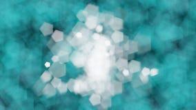 Il bokeh bianco si accende nella palla di centro contro le forti luci blu del bokeh Fotografia Stock Libera da Diritti