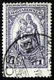 Il bollo dell'Ungheria mostra Madonna ed il bambino, protettrice dell'Ungheria, circa 1926 Immagine Stock