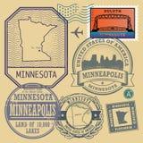 Il bollo ha messo con il nome e la mappa del Minnesota Fotografie Stock