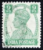 Il bollo indiano mostra a re George VI, circa 1941 Fotografia Stock