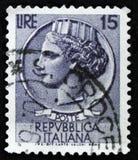 Il bollo italiano mostra la moneta antica di Siracusa, il ` della moneta di Syracusean del ` di serie, circa 1968 Immagini Stock Libere da Diritti