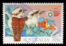 Il bollo stampato in Australia mostra l'uccello Fotografie Stock