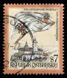 Il bollo stampato in Austria mostra la signora crudele del castello di Forchtenstein Fotografia Stock Libera da Diritti