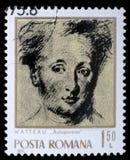 Il bollo stampato dalla Romania mostra l'autoritratto di immagine del pittore francese famoso Jean Antoine Watteau Fotografie Stock