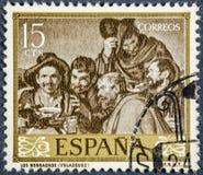 Il bollo stampato dalla Spagna, manifestazioni rappresenta i drunks da Velazquez immagini stock libere da diritti