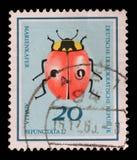 Il bollo stampato in Germania dagli scarabei utili pubblica lo scarabeo di coccinella del due-punto di manifestazioni Immagine Stock Libera da Diritti