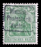 Il bollo stampato in Germania mostra l'allegoria di Germania, personificazione della Germania Fotografia Stock