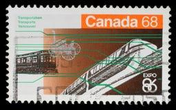 Il bollo stampato nel Canada dall'edizione giusta del ` del ` s del mondo dell'Expo 86 del ` mostra il trasporto di Vancouver Fotografie Stock
