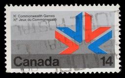 Il bollo stampato nel Canada mostra un simbolo XI dei giochi di commonwealth Fotografia Stock