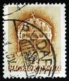 Il bollo ungherese mostra la corona santa di St Stephen, 900th anniversario della morte di St Stephen, circa 1938 Fotografie Stock