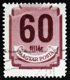 Il bollo ungherese mostra lo schermo con le cifre, circa 1958 Fotografie Stock Libere da Diritti