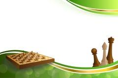 Il bordo beige dell'oro verde del fondo di scacchi di marrone astratto del gioco calcola l'illustrazione Fotografie Stock