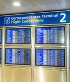 Il bordo con il programma delle partenze degli aerei indica il più tardi Immagine Stock Libera da Diritti