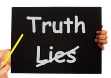 Il bordo di bugie della verità non mostra l'onestà Immagini Stock