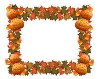 Il bordo di Halloween lascia le zucche Fotografie Stock Libere da Diritti