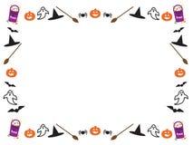 Il bordo di Halloween lascia le zucche Fotografia Stock Libera da Diritti