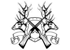 Teste degli alci e fucile attraversato royalty illustrazione gratis