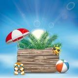 Il bordo di legno di Sun delle nuvole del cielo Flip-Flops la palma del parasole Fotografia Stock