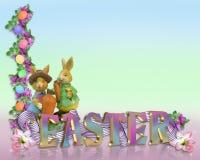 Il bordo di Pasqua eggs i coniglietti Immagine Stock