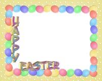 Il bordo di Pasqua eggs il testo 3D Fotografie Stock Libere da Diritti