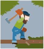 Il boscaiolo taglia fuori i rami a pezzi da un albero Fotografia Stock