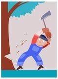 Il boscaiolo taglia un albero dall'ascia Fotografie Stock Libere da Diritti