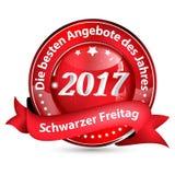 Il bottone di Black Friday 2017 ha progettato per il commercio al dettaglio tedesco Fotografie Stock Libere da Diritti