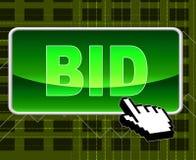 Il bottone di offerta rappresenta il World Wide Web e l'asta Immagine Stock