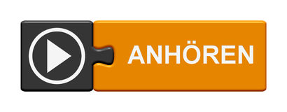 Il bottone di puzzle ascolta tedesco Immagine Stock
