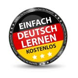 Il bottone lucido tedesco impara semplicemente il tedesco per l'illustrazione libera di vettore con la bandiera tedesca e le stel Fotografie Stock Libere da Diritti