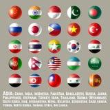Il bottone rotondo dell'Asia inbandiera uno royalty illustrazione gratis