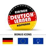 Il bottone rotondo tedesco impara semplicemente il tedesco gratis e le icone di indennità - bandiera tedesca, Europa e lampadina Fotografie Stock Libere da Diritti