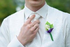 Il boutonniere del bello sposo Fotografie Stock Libere da Diritti