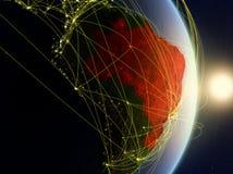 Il Brasile su pianeta Terra di reti fotografie stock libere da diritti