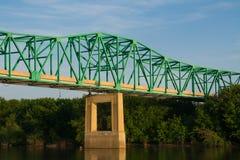 Bridge over the Illinois River. IL-251 Bridge in Peru as the sun sets on the Illinois River. Peru, Illinois, USA royalty free stock image