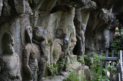 Il Buddha di area scenica di Lingyin fotografia stock libera da diritti