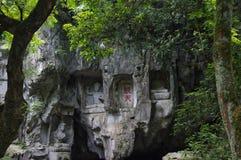 Il Buddha di area scenica di Lingyin immagine stock