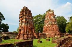 Il buddista due bombarda (Ayutthaya, la Tailandia) Fotografia Stock Libera da Diritti
