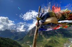 Il buddista prega la bandiera Fotografia Stock