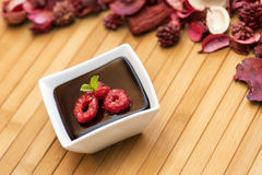 Il budino scuro del cioccolato con i lamponi e la menta coprono di foglie Fotografia Stock Libera da Diritti