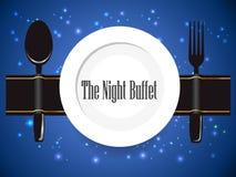 Il buffet di notte, la cena, tutta potete mangiare il segno del buffet illustrazione vettoriale