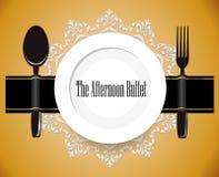 Il buffet di pomeriggio, il pranzo, tutto potete mangiare il segno del buffet illustrazione vettoriale